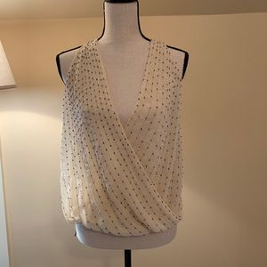 Buckle cream beaded chiffon wrap top